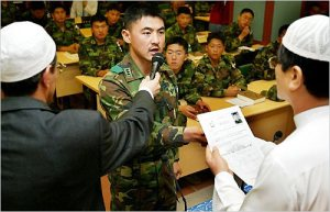 Captain Son Jin-gu from Zaitoon Unit recites an oath at ceremony to mark his conversion to Islam at a mosque in Hannam-dong, Seoul on Friday. /Yonhap